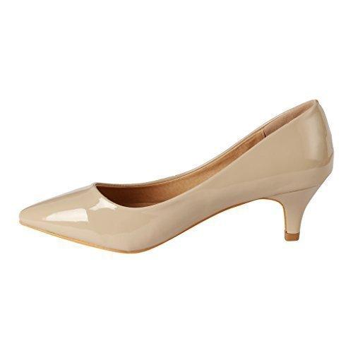 Coshare Women's Fashion Patent Embellished Front Low Heel Pumps, Beige, 10 M US Beige Leather Heels