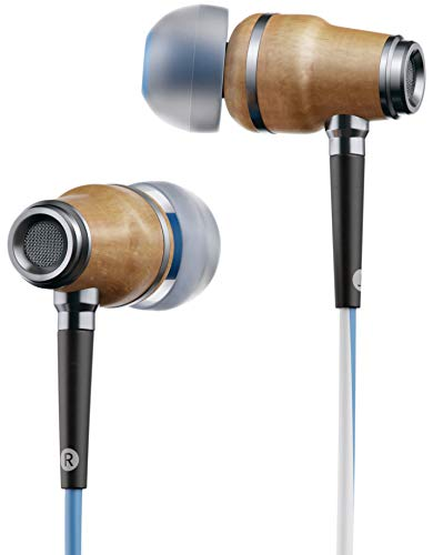 Symphonized NRG X Premium Genuine Wood Earbuds, in-Ear Noise-Isolating Headphones, Earphones with Angle-Fit Ear Tips, in-line Microphone and Volume Control, Stereo Earphones (Blue&White)