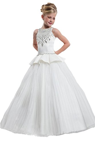 Oudy 2018 Flower Girls Beaded Bodice Organza Pageant Dress Formal Gowns 12 US (White Beaded Bodice)