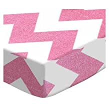 SheetWorld Extra Deep Fitted Portable / Mini Crib Sheet - Sparkly Pink Chevron - Made In USA