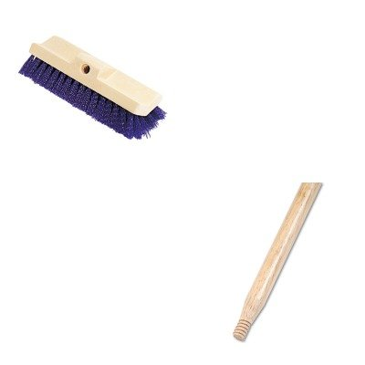 KITBWK137RCP6337BLU - Value Kit - Boardwalk Heavy-Duty Threaded End Lacquered Hardwood Broom Handle (BWK137) and Bi-Level Deck Scrub Brush, Polypropylene Fibers, 10 Plastic Block, Tapered Hole (RCP6337BLU)