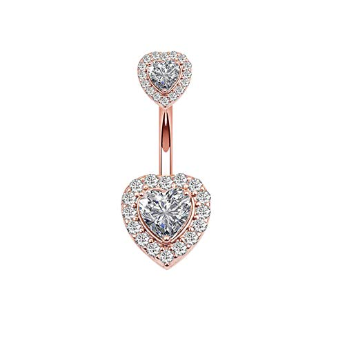 Dangle Gold Heart Belly (14G Double Heart Diamond Cubic Zirconia Navel Belly Button Ring Surgical Steel Piercing Jewelry (Rose Gold))