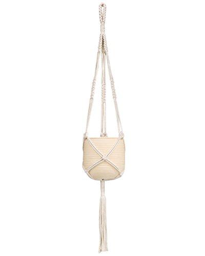Mkono Macrame Plant Hanger Hanging Planter Basket Cotton Rope 39 Inch (Macrame White)