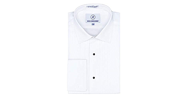 Sir Gregory - Camisa de Esmoquin para Hombre de Ajuste Regular, 100% algodón, Cuello de Pliegue francés, Plisado de 1/4 Pulgadas