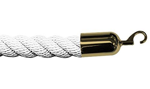 White 5/' Tensator 5 Lawrence metal ROPE-TWST-32-050-2-HOOK-2P Twisted Plastic Rope
