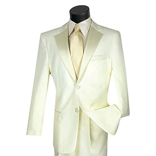 (Lucci Men's 2 Button Classic-Fit Formal Polyester Tuxedo Suit w/Sateen Lapel & Trim [Color: Ivory | Size: 38 Regular / 32 Waist])