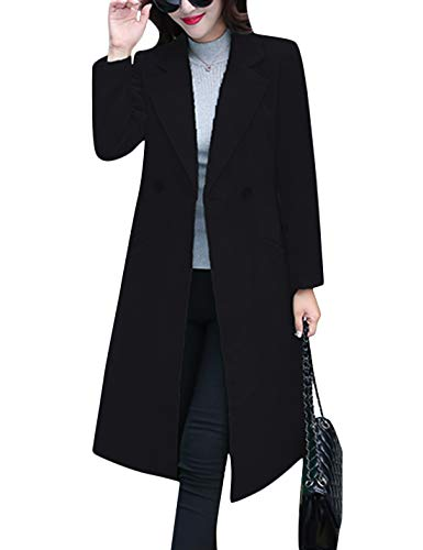 Tanming Women's Notch Lapel Double Breasted Wool Blend Mid Long Pea Trench Coat (Black, Large) (Coats Wool Juniors For)