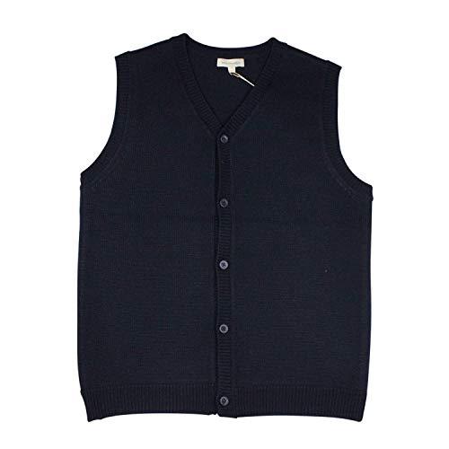 Mini Phoebee Women&Men V-Neck Button Front Merino Wool Blend Cardigan Sweater Vest XL Blue