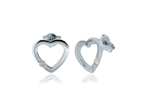 Or blanc 9carats Diamant Boucles d'oreilles clous forme de cœur
