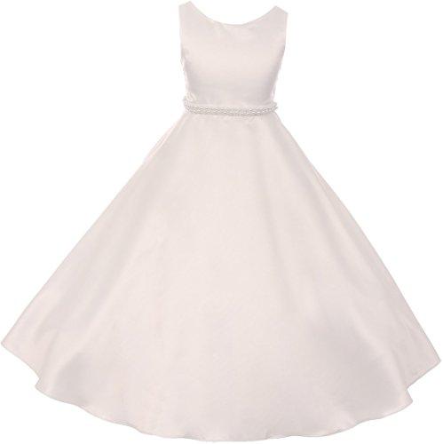 Dreamer P Little Girls Satin Pearl Trim Wedding Holy First Communion Flower Girl Dress Ivory 6 (K38D6) for $<!--$40.00-->