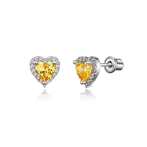 925 Sterling Silver Rhodium Plated Yellow Heart Cubic Zirconia Screwback Baby Girls Earrings (Baby Yellow Earrings)