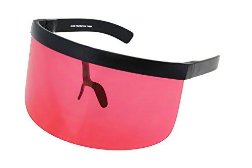 Red Shield Visor - Elite Futuristic Oversize Shield Visor Sunglasses Flat Top Mirrored Mono Lens 172mm (Red, 172)
