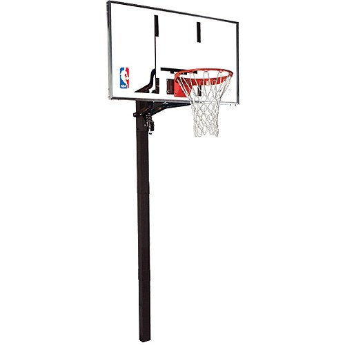 "Spalding NBA In-Ground Basketball System - 54"" Aluminum Trim Glass Backboard"