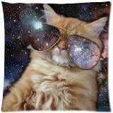 Amy Like Pillowcases Star Galaxy Outer Space Nebula Cool Cat Zippered Pillow Cases 18*18 inches (twin sides) Decorative Throw Pillow ,Throw Pillow Case, Pillowcase