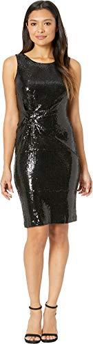 Sequin Dress Knit - Taylor Womens Sleeveless Sequin Knit Sheath Dress Black 10