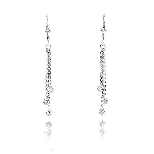 (14k White Gold Chandelier Earrings with Dangling Diamond Stations 0.60 Carat)