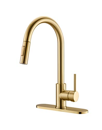 Havin HV601 Brass Kitchen Faucet with Pull Down Sprayer,Brushed Gold Color, Fit for 1 Hole and 3 Holes Deck Mount, Single Handle (Brushed Gold)
