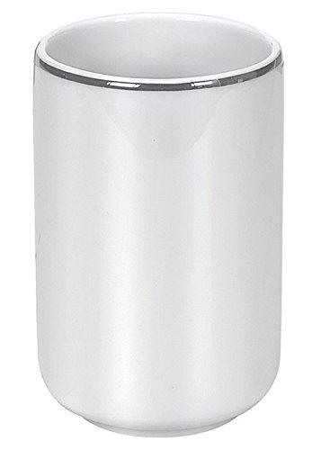 Kleine Wolke 5075127852 Noblesse - Vaso para cepillo de dientes (porcelana), color blanco y plateado: Amazon.es: Hogar