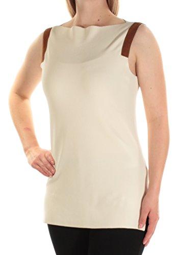 Lauren Ralph Lauren Womens Faux Suede Trim Sleeveless Pullover Sweater Ivory M