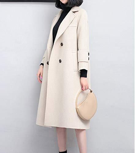 Donna s E Boucle Da Coat Caldo In Inverno Vioy Giacca Vintage Lana Maniche Autunno Vento Ricamo Lunghe A bianca Rw5xqUZ