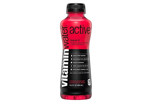 Vitamin Water Active Move It Strawberry Black Cherry 15.2 oz Plastic Bottles - Pack of 12