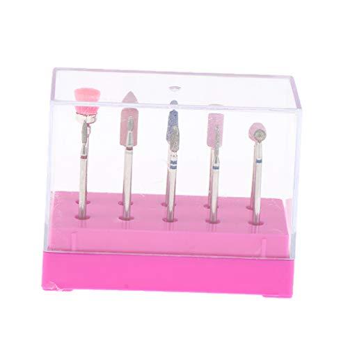 生産的多用途維持する10本セット ネイルアートビット 電気ネイルドリルビット ネイル道具 ボックス付き - ピンク