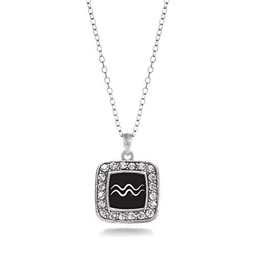 Inspired Silver - Aquarius Zodiac Charm Necklace for Women - Silver Square Charm 18 Inch Necklace with Cubic Zirconia Jewelry