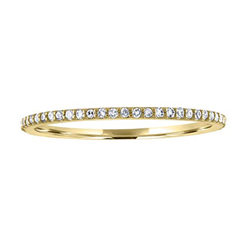 JewelMore 14k Gold Dainty Half Band Natural Diamond Wedding Anniversary Ring (1/10 cttw, G-H Color) (Yellow Gold, 9)