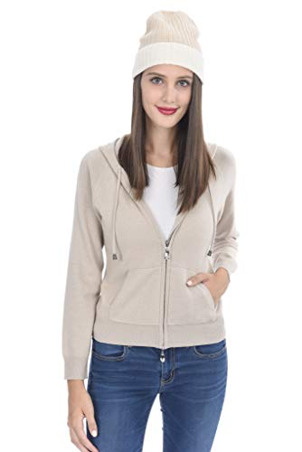 (State Cashmere Women's 100% Pure Cashmere Full Zipper Hoodie (Medium, Beige))