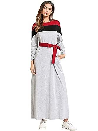 Y&D Women's A Line Floral Round Neck Long Sleeve Solid Color Plus Size Maxi Dress Multi Color