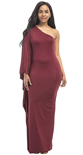 Semi Formal One Aecibzo Shoulder Red Dress Long Sexy Womens Wine