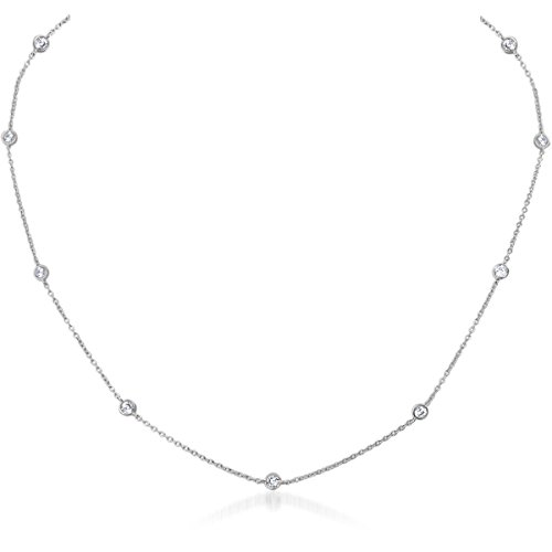 Rhinestone Station - Humble Chic Cubic Zirconia Necklace - Simulated Diamond Crystal Rhinestone CZ Dainty Choker Station Chain, 925 White, Sterling Silver-Electroplated
