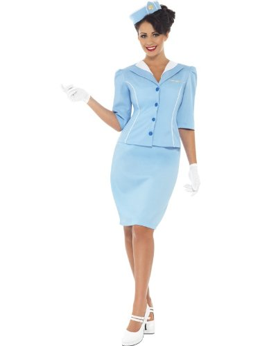 Flight Attendant Costume Uk (Smiffy's Women's Air Hostess Costume with Jacket and Mock Collar Hat Skirt and Gloves, Blue, Medium)