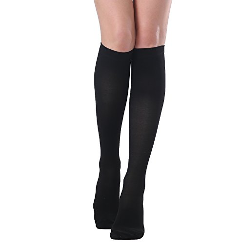 SWOLF 20-30 mmHg Graduated Compression Socks Women Men, Knee High Closed Toe Medical Firm Support Hose – Best Maternity Compression Stockings Relief Swelling Varicose Veins Edema DVT (Black, X-Large)