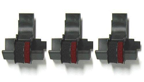 (3 Pack) Sharp EL-1750V Sharp EL-1801V Calculator Ink Roller, Black and Red, Compatible, ()