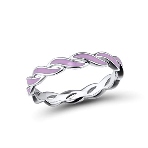 Santuzza 925 Sterling Silver Ring Handmade Enamel Colorful Twisted Stackable Rings Eternity Rings (Pink, 9)