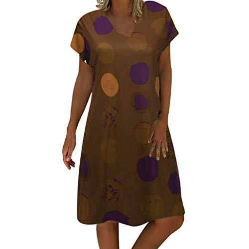 iHPH7 Dress Short Sleeve V Neck Skater Dress Casual Loose Printed Tunic Dress Knee Holiday Dress Women (4XL,12- Khaki)