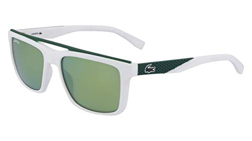 (Lacoste Men's L899s Rectangular Sunglasses White Matte 55.01 mm )