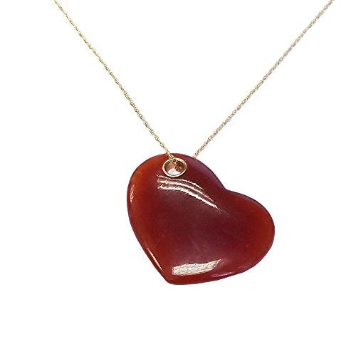 (Regalia by Ulti Ramos 14k Yellow Gold Heart Shape Jade Pendant with 18