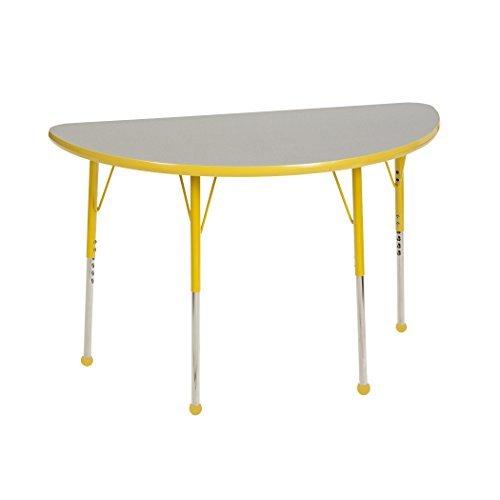 ECR4Kids Mesa T-Mold 24 x 48 Half Round School Activity Table Toddler Legs w/Ball Glides Adjustable Height 15-23 inch (Grey/Yellow) [並行輸入品] B07K9RR5FM