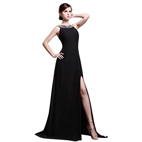 Dearta Dresses Neck Brush Sleeveless Scoop Train Sweep Black Prom Women's Sheath rtqwzUBr