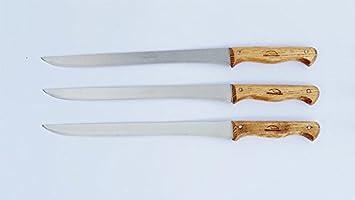 Pack 3 Cuchillos Jamoneros Artesanales en Madera de Fresno, acabado natural con hojas de acero inoxidable 440C: Amazon.es: Deportes y aire libre