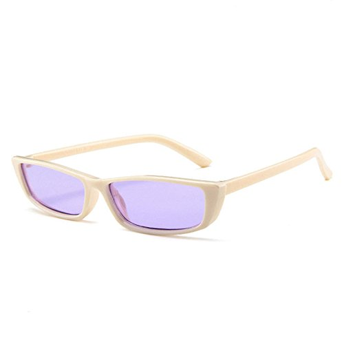 Retro Thin Rectangle 90's Cat Eye Vintage Sunglasses Narrow Fashion Clout Skinny Shades (Cream + Purple Tinted (Cream Rectangular Shade)
