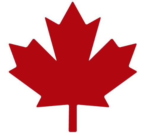 Maple Leaf Decal Sticker - Size:3.0 x 3.0 inches - Color:Red (Merchandise Canada)