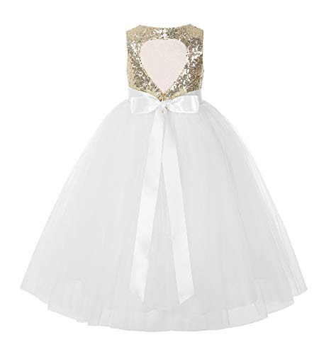 Heart Cutout Sequin Flower Girl Dress Girls Tulle Dresses Wedding Bridesmaid Dress 172seq 5 Gold/Ivory