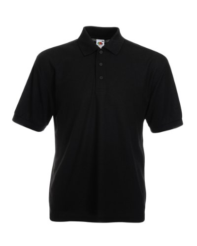 Fruit of the Loom Pique Polo Shirt SIZE XXL COLOUR Black