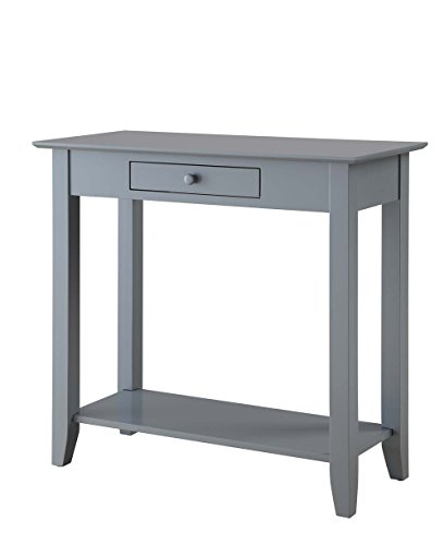 Convenience Concepts American Heritage Hall Table with Drawer and Shelf, Gray (Gray Hall)