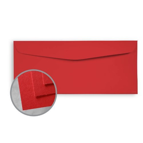BriteHue Red Envelopes - No. 10 Commercial (4 1/8 x 9 1/2) 60 lb Text Semi-Vellum 30% Recycled 500 per Box (30% Finish Recycled Vellum)