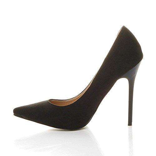 Femmes talon haut fête élégante escarpins de travail chaussures pointue taille Daim Noir 7MeE14