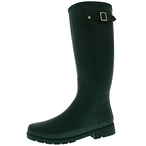 Polar Products Womens Waterproof Rain Winter Field Dirt Muck Festival Snow Wellington - Dark Green - US8/EU39 - - Knee Rain Boots High